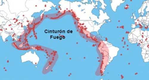 Cinturón de Fuego junto a la Falla de San Andrés Origen