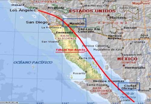 Falla de San Andrés Mapa y Ubicación