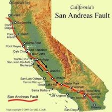 Falla de San Andres Mapa por donde pasa